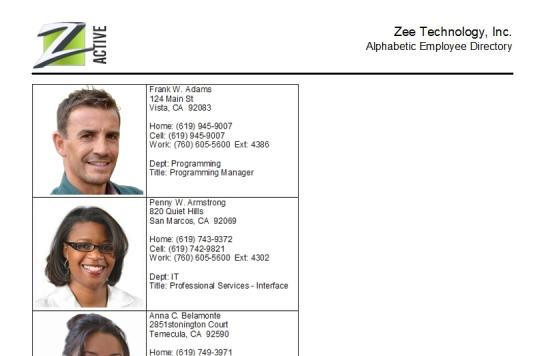 Employee Directory Report