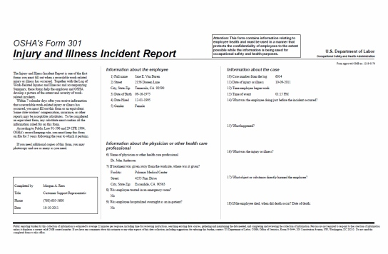 OSHA 301 Report sample