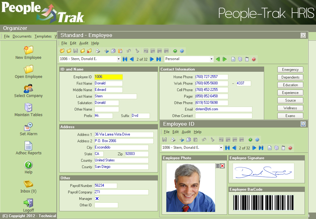 HRIS Employee Personal Screen